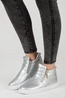 Dámské tenisky se zipy ve stříbrné barvě