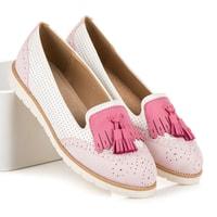 Ažurové baleríny s třásněmi růžové