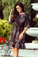 Romantické dámské šaty s volánky černé s barevnými květy e1cf83de867