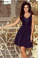 cd9bc914bb5 Společenské šaty s krajkovým výstřihem a záhyby námořnicky modré