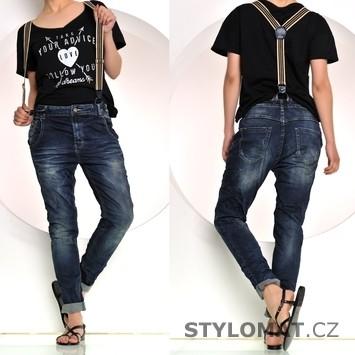 ... , legíny a kraťasy / Jeansy / Módní modré džíny s kšandami