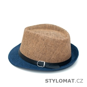 77347c59cde ... Dámské letní klobouky    Modro-béžový trilby klobouk se stuhou.  Modro-béžový trilby klobouk se stuhou