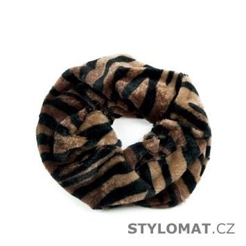 Kožíškový kruhový šál se zvířecím vzorem - Art of Polo - Dámské zimní šály e3250b8674