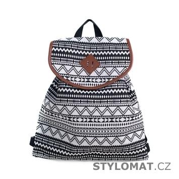 Dámský vzorovaný batůžek černo-bílý