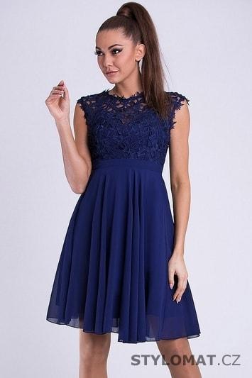 Krátké společenské šaty s krajkovým vrškem modré - Emamoda - Krátké ... 433809950b