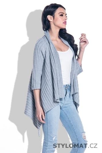 Pletený dámský svetr šedý