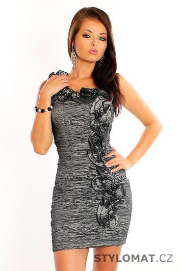 7e903238c4c Elegantní dámské šedé koktejlové šaty s ozdobným volánkem - Pink BOOm -  Party a koktejlové šaty