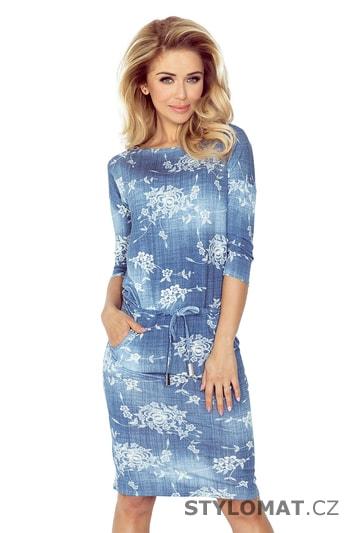 Sportovní šaty z viskózy s potiskem stínovaných modrých džín s malými květy