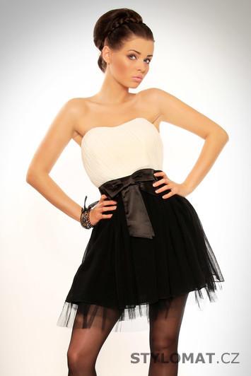 Dámské elegantní černo-bílé krátké tylové šaty s mašlí - Drole le Copine -  Party a koktejlové šaty 2cb0e6304a